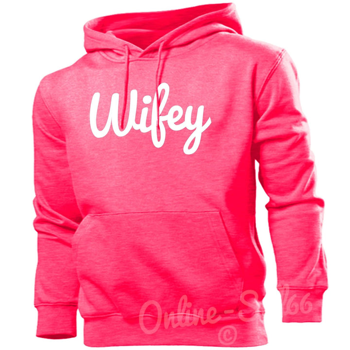 Wifey Womens Funny Hipster Hoodie Wedding Wife Hen Do Hoody Top, Main Colour Bright Pink