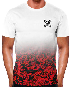 HALF RED ROSE FADE T SHIRT GYM WEAR CLOTHING GET DOWN BRAND BODYBUILDING TOP MEN