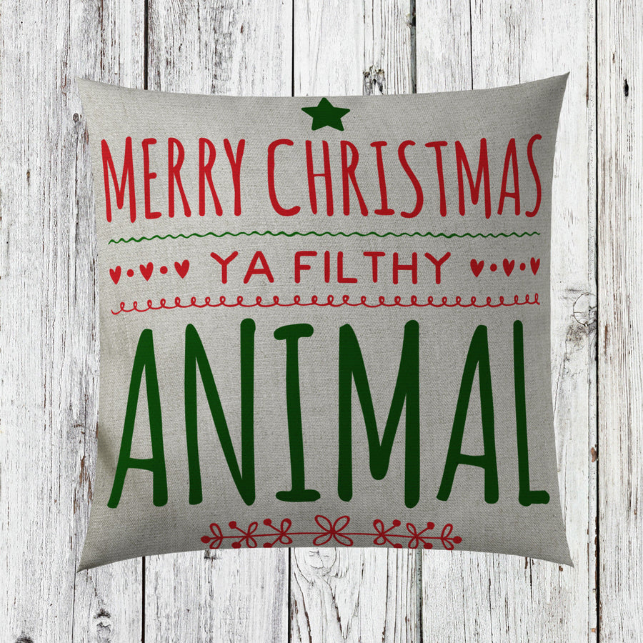 Merry Christmas Ya Filthy Animal Christmas Cushion Cover Funny Decorations ST40