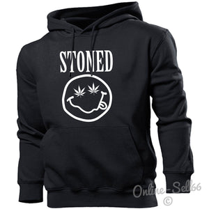 Stoned Smiley Hoodie Hoody Men Women Kids Funny High Dope Gift Present, Main Colour Black