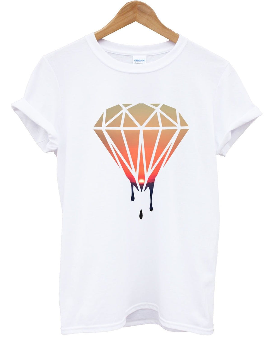 Dripping Diamond Sunset White T Shirt Urban Swagger Dope Fresh Clothing Men Girl