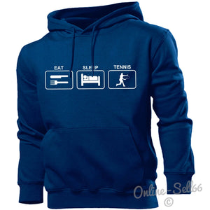 Eat Sleep Tennis Hoodie Hoody Men Boys Women Kids Racquet Sport Training Present, Main Colour Navy