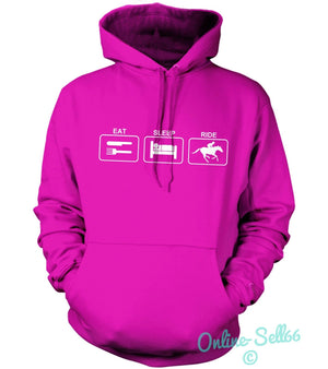 Eat Sleep Ride Hoodie Hoody Mens Women Kids HorseRiding Rider Stables Equestrian, Main Colour Bright Pink
