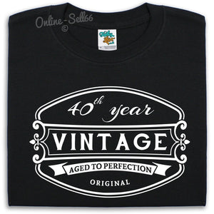 40 th Vintage Birthday Mens T Shirt 41 42 43 44 Bday Present Drink Funny Gift, Main Colour Black