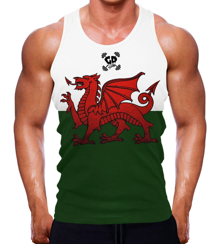 WELSH FLAG MUSCLE TANK FITTED WALES COUNTRY PROUD BODYBUILDING TRAINING GEAR MEN