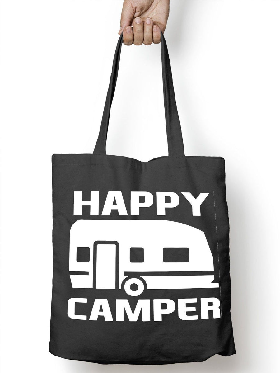 Happy Camper Funny Camping Tote Bag For Life Shopper Festival Camp Shopping E64