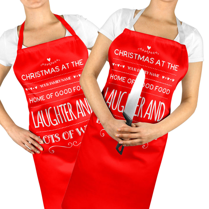 Christmas Apron PERSONALISED Laughter and Wine Funny Chef Apron Baking Gift ST56