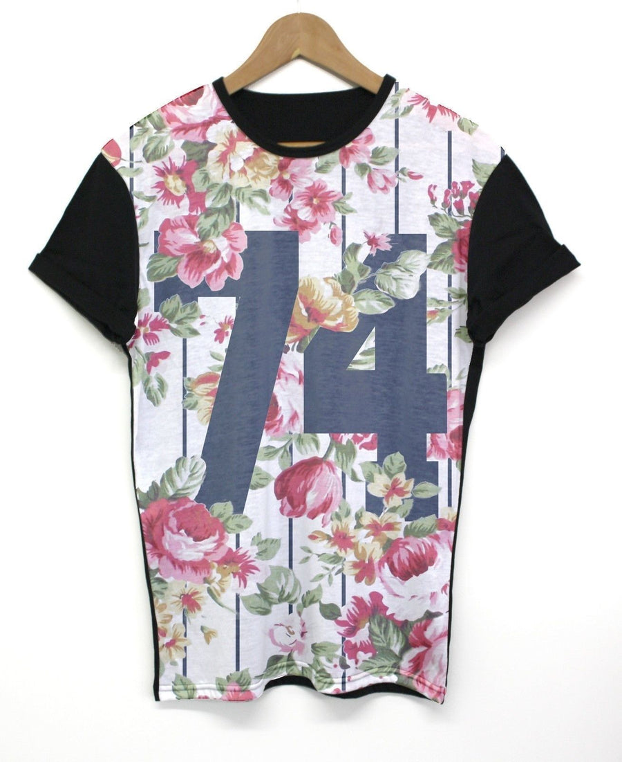 74 Floral Black Panel All Over T Shirt Indie Hipster Summer Print Sizes XS - 2XL
