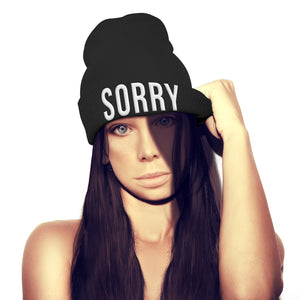 Sorry Beanie Hat Embroidery Hipster Street Winter Fashion Men Womens Girl beenie