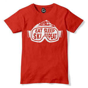 Ski Goggles Eat Sleep Ski Repeat Snowboard T Shirt Skiing Holiday Tshirt Ski 197