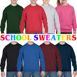 Gildan HEAVY Blend Crewneck Sweatshirt Boys Girls Jumper Sweater School Uniform
