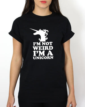 I'M NOT WEIRD I'M A UNICORN T SHIRT FUNNY HIPSTER SWAG MEN WOMEN GIRL , Main Colour Black