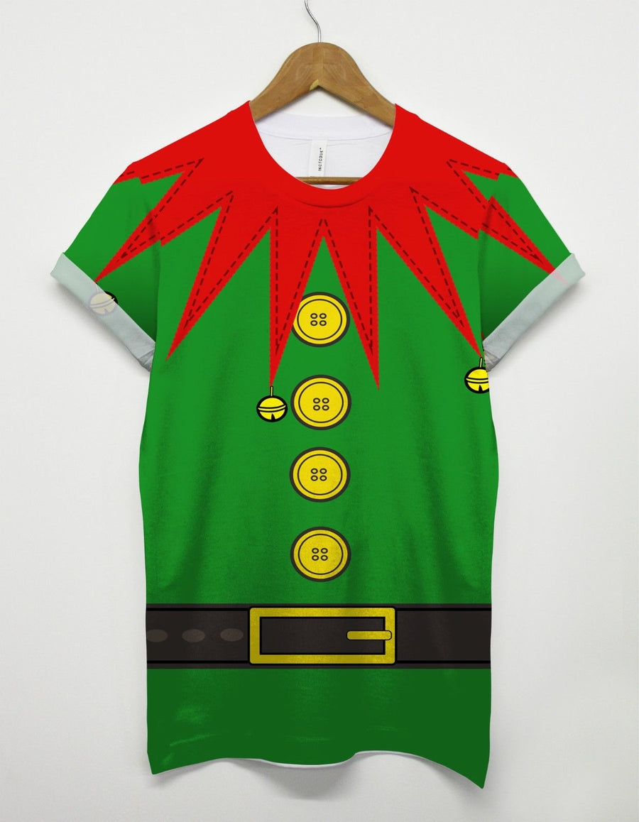 Elf Costume All Over T Shirt Santa's Helper Secret Present Gift Funny Christmas