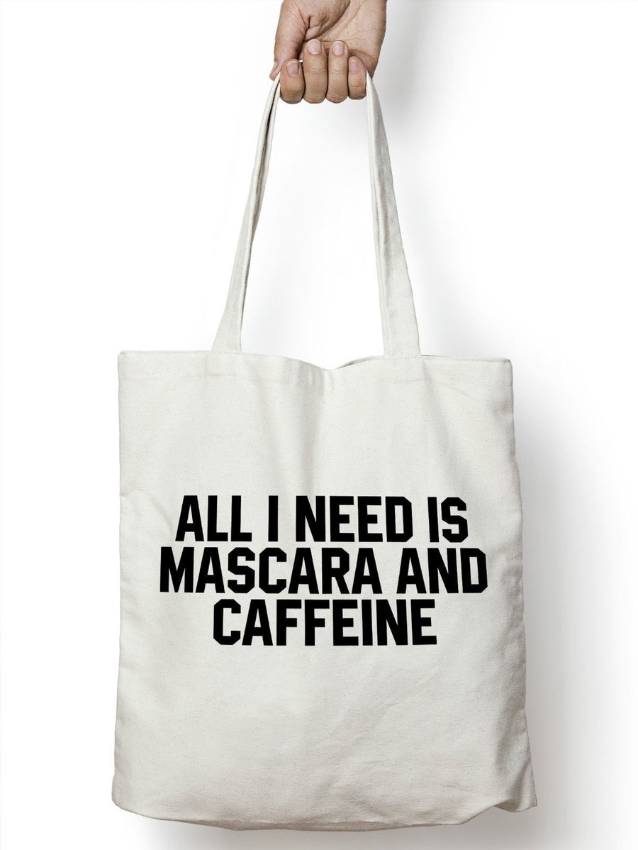 All I Need Is Mascara And Caffeine Tote Bag Shopping Womens Gift Makeup STP107