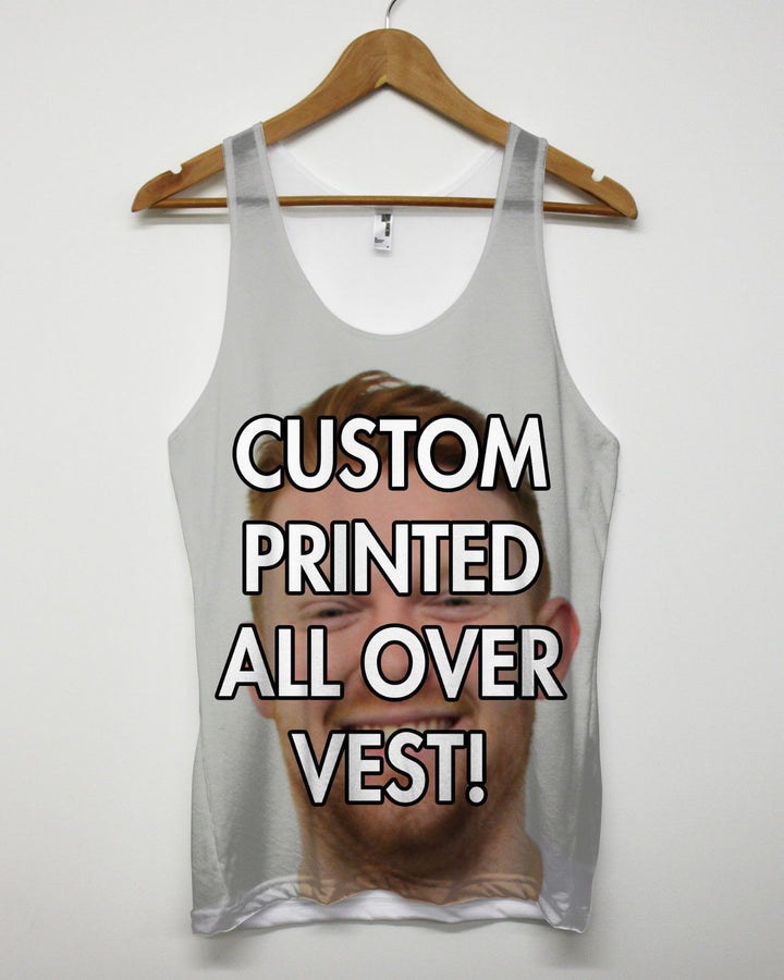 CUSTOM PRINTED ALL OVER VEST PERSONALISED TANK TOP SINGLET MEN WOMEN CUSTOMISED