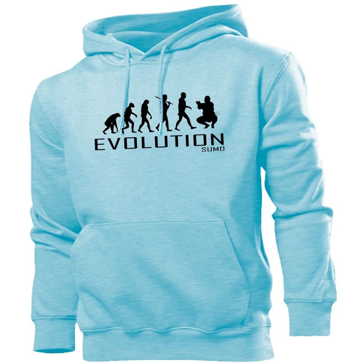 Sumo Evolution Hoodie Mens Womens Kids Hoody Wrestling Martial Arts Ring Nappy , Main Colour Sky Blue