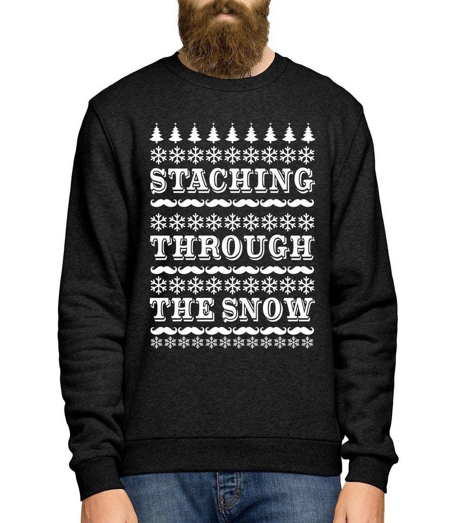 Moustache Christmas Sweater Staching Through The Snow Jumper Mustache Men JC20