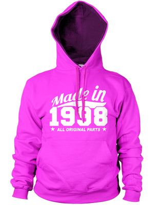 MADE IN 1998 ALL ORIGINAL PARTS HOODIE MENS WOMENS GIFT PRESENT FUNNY FAMILY