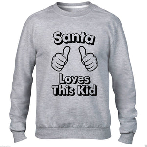 SANTA LOVES THIS KID SWEATER CHRISTMAS JUMPER FUNNY MEN WOMEN CHILD FATHER