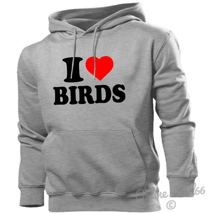 I LOVE BIRDS HOODIE HEART HOODY MEN WOMEN KIDS OF PREY FALCON CROW GIRLS WOMEN, Main Colour Sport Grey