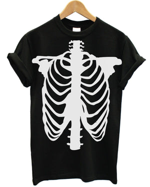 Skeleton T Shirt Skull Halloween Ghost Vampire Scary Costume Dress Up Emo Goth, Main Colour Black
