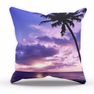 Purple Hawaii Palm Tree Sunset Cushion Leaves Home Cover Pillow Bed Linen C4