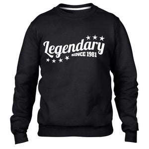 Legendary Since 1981 Sweatshirt Jumper Mens Womens Birthday funny Legend 35 36