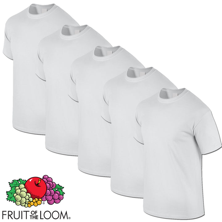 WHITE 5 Pack Mens Fruit of the Loom Plain Cotton Tshirt T Shirt Blank All Sizes