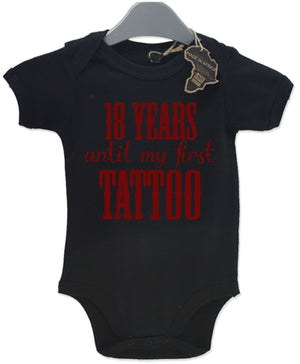 18 Years Until My first Tattoo Babygrow Kids Ink Beard Funny Baby Shower EBG39