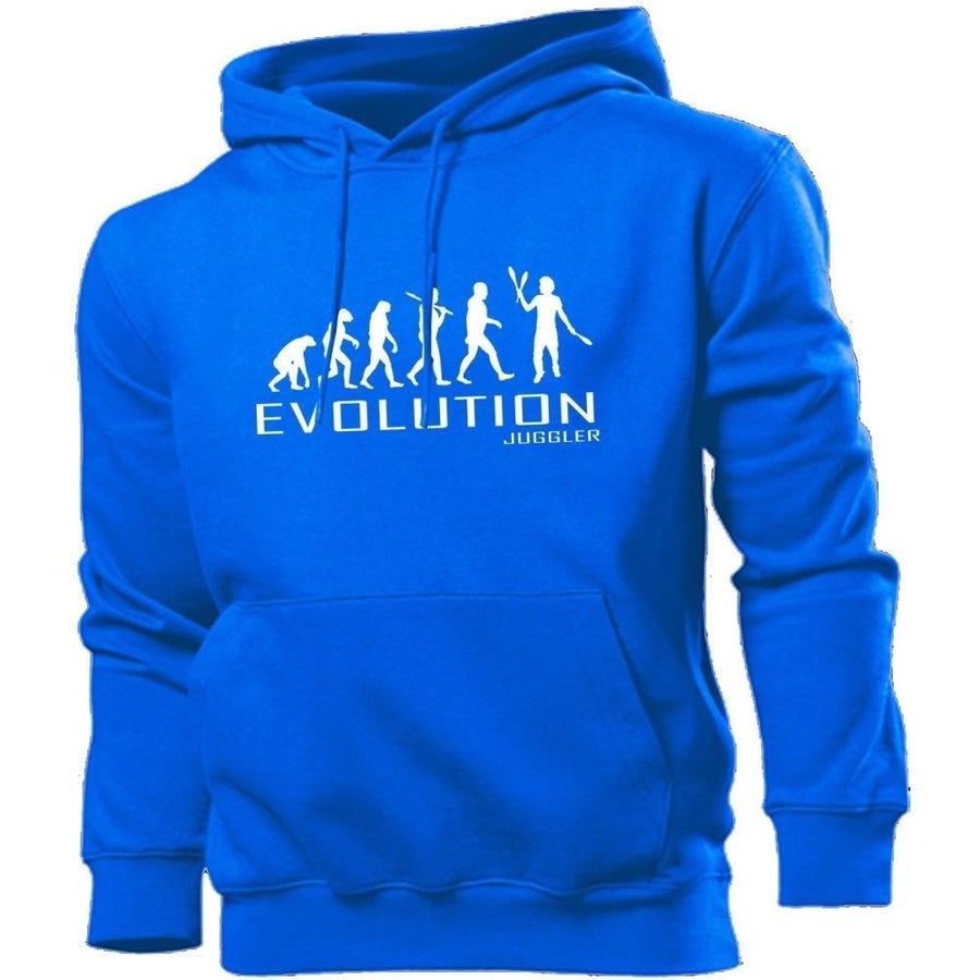 Juggler Evolution Hoodie Men Women Kids Club Gym Hobbie Geek Balls Circus Clown, Main Colour Royal Blue