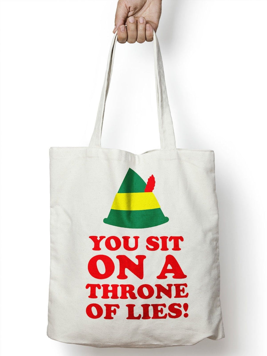 You Sit On A Throne Of Lies Christmas Shopper Bag Tote Festive Movie Elf M75