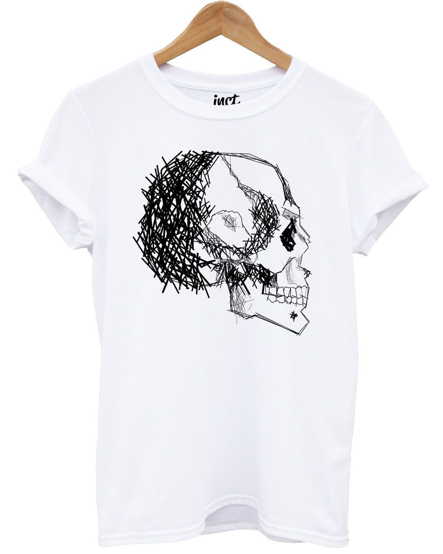 Line Skull Drawing T Shirt Top Tee Illustrations Designs Scary Gothic Emo