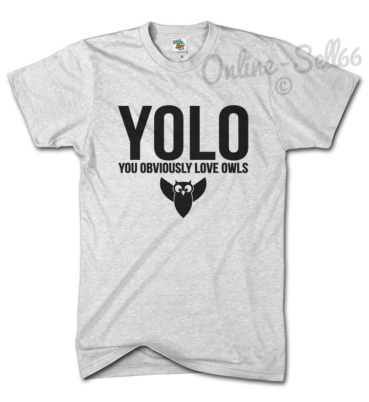 YOLO You Obviously Love Owls Funny Swag Tshirt Dope Mens Womens Top Hipster, Main Colour White