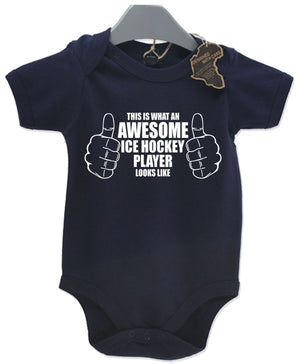 Awesome Ice Hockey Gift Baby Grow Boys Present Play Suit Cute Girls
