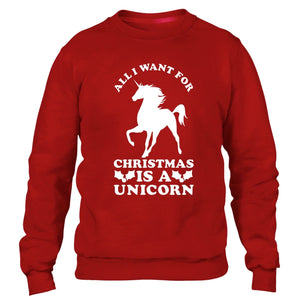 ALL I WANT FOR CHRISTMAS IS A UNICORN SWEATER JUMPER UGLY FUNNY XMAS MEN WOMEN