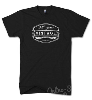 35 th Vintage Birthday Mens T Shirt 36 37 38 39 Present Gift Funny Drink Bday, Main Colour Black