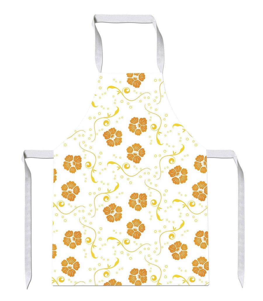 Orange Yellow Floral Print Kitchens Novelty Funny APRON Kitchen Tabard Linen 24
