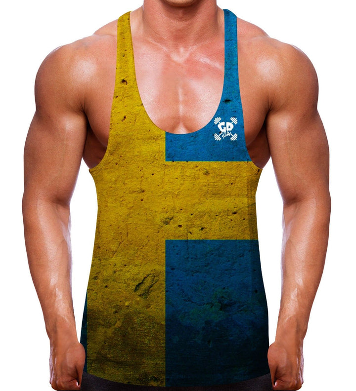 SWEDISH FLAG STRINGER RACER BACK VEST TOP GYM CLOTHING SWEDEN MEN WORKOUT TRAIN