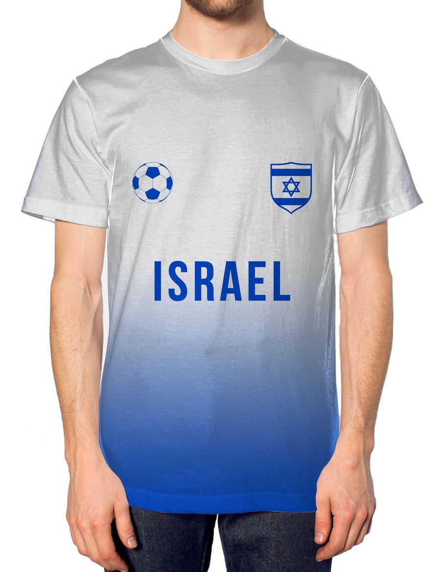 Israel Football Nation Fade Tshirt Mens Shirt Jersey World Cup Euros Train Team