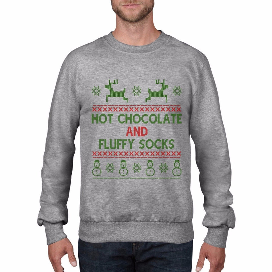 Hot Chocolate and Fluffy Socks Christmas Jumper Fair Isle Sweatshirt Party CH4