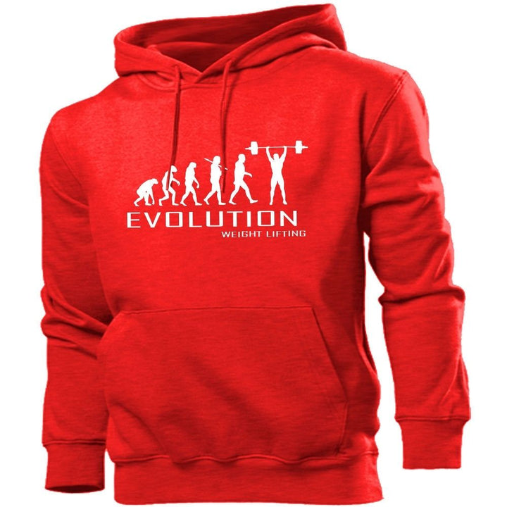 Weight Lifting Evolution Hoodie Mens Womens Kids Hoody Sports Gym Train Fitness, Main Colour Red