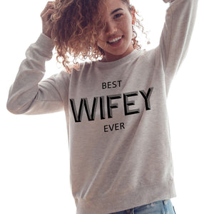 Best Wifey Hubby Ever Valentines Sweater Womens Wife Wedding Sweatshirt Gift V1