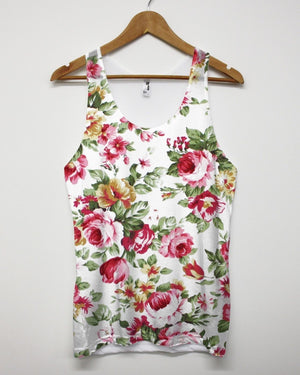White Floral All Over Print Vest Tank Top Singlet Man Men Flower Summer Holiday