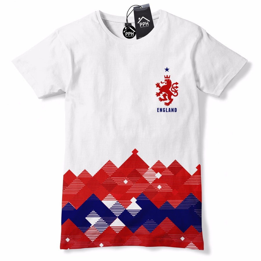 England Football Shirt Retro Pattern T Shirt World Cup 1966 Vintage Red 582
