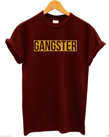 Image of Gangster Gold Print T Shirt Chains Swag Hipster Chav Indie Slogan Logo , Main Colour Black