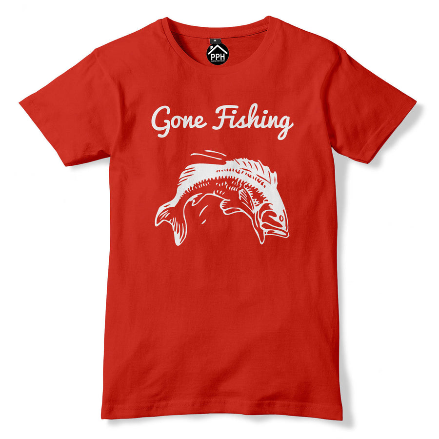 Gone Fishing Tshirt Funny Dad T Shirt Stag Fish Carp Angling Fathers Day Rod PT3
