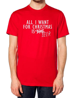 All I Want For Christmas Is Beer T Shirt You Dad Granddad Idea Festive Present, Main Colour Black