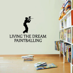Paintballing Sticker Living The Dream Paintball Rifle Wall Vinyl Print Decal Art