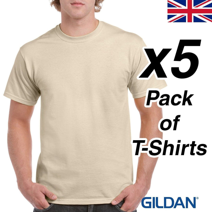 Mens Sand T Shirt 5 Pack Gildan Heavy Cotton Tee Top Plain Cheap Work Beige