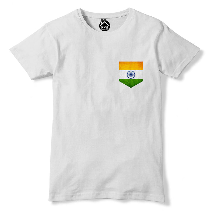Vintage Print Pocket INDIA Flag Tshirt Football Delhi Cricket Nation T Shirt 308